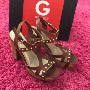 Tan g by guess platform heels wedges